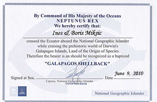 Galapagos Shellback certificate
